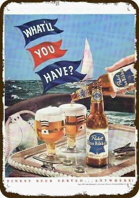 1951 PABST BLUE RIBBON BEER Vintage Appearance Replica Metal Sign - SAIL BOAT