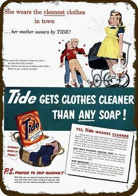 1951 TIDE LAUNDRY SOAP Vintage Appearance Replica Metal Sign - BOY LOVES GIRL