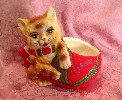 Vintage Cat Wearing Scarf with Red Yarn Ball  Planter Cute for Christmas