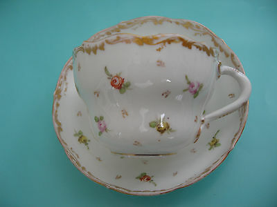 Antique Rk Dresden Hand Painted Flowers Cup & Saucer Gold Trim