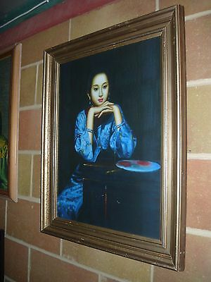 Vintage Retro Frame New Chinese Lady In Blue Print Trechikoff Era