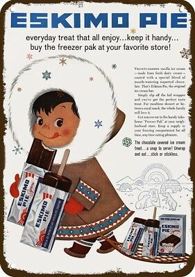 1958 ESKIMO PIE ICE CREAM BAR Vintage Look Replica Metal Sign - ESKIMO GIRL Art