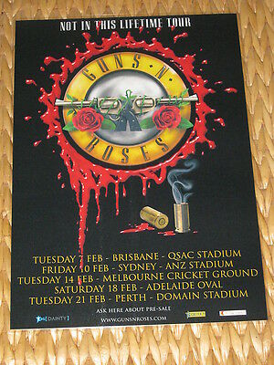 GUNS N ROSES - 2017 Australian Laminated Tour Poster - Not In This Lifetime Tour