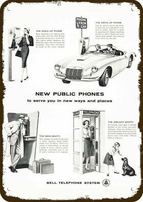 1960 BELL TELEPHONE BOOTHS Vintage Look Replica Metal Sign - PAY TELEPHONE BOOTH