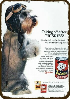 1960 FRISKIES DOG FOOD Vintage Look Replica Metal Sign Cute SCHNAUZER PUPPY DOG