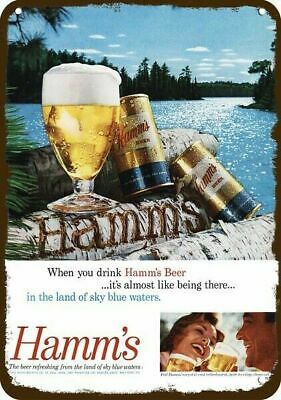 1960 HAMM'S BEER Vintage Look Replica Metal Sign - LAKE -WOOD CARVING GLASS CAN