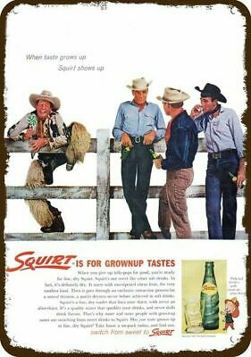 1962 SQUIRT Soda Vintage Appearance Replica Metal Sign COWBOY SMOKING CIGS