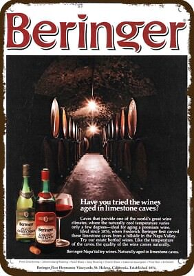 1971 BERINGER CABERNET RED & PINOT WHITE WINE Vintage Look Replica Metal Sign