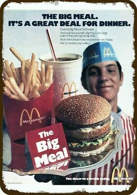 1971 McDONALD'S RESTAURANT Retro BIG MAC MEAL Vintage Look REPLICA METAL SIGN