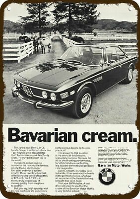 1974 BMW 3.0 CS Sports Car Vintage Look Replica Metal Sign - BAVARIAN CREAM