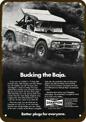 1973 CHAMPION FORD BRONCO BAJA 500 Race Vintage Look Metal Sign - PARNELLI JONES