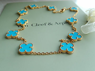 Xmas Gift *Van Cleef Arpels Necklace* 10 Turquoise , YG