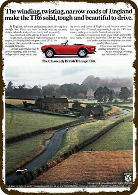 1974 TRIUMPH TR6 CONVERTIBLE SPORTS CAR Vintage Appearance Replica Metal Sign