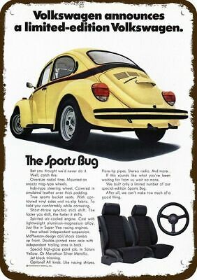 1974 VOLKSWAGEN SPORTS BUG VW Car Vintage Look Replica Metal Sign YELLOW BEETLE