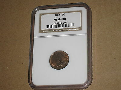1875 1C Indian Cent - NGC MS64 RB