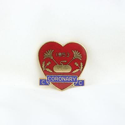 VTG Coronary Curling Club Red Heart Pin 1953 Badge Boston MA  Lucius T. Hill