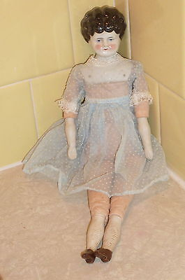 "Antique Excelsior GERMAN 1890s 12"" China Low Brow Shoulder Head Doll Cloth Body"