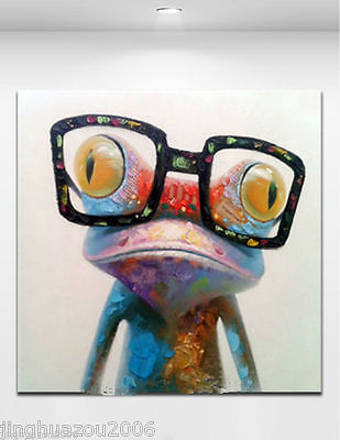 "MODERN ABSTRACT CANVAS ART OIL PAINTING:""happy frog""(no framed)"