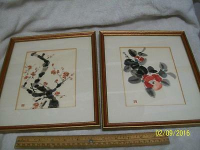 Vintage Two Chinese Framed matted signed Watercolors