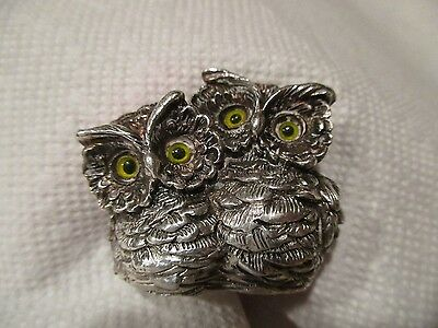 Alessandro Magrino vtg charming pair of owls sterling 925 Italy