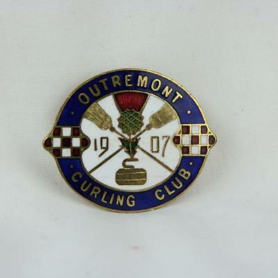 VTG Outremont Curling Club Pin 1907 Canada Badge Pinback