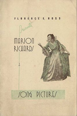 Old Booking Agent Brochure - Marion Richards in Song Pictures - Nice Condition
