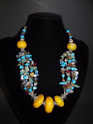 Moroccan Berber natural stones resin Beads Necklace