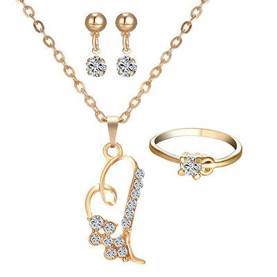 Bridal Crystal Heart Wedding Jewelry Set Alloy Necklace Earrings Ring Rhinestone