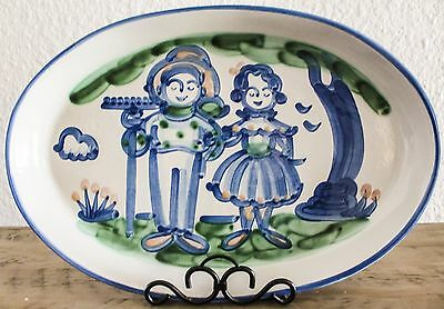 "M.A. Hadley Pottery 16 3/8"" Oval Platter Farmer Wife Country Farm"