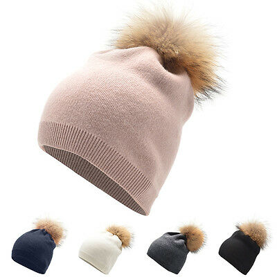 Womens Winter Beanie Hat Cashmere Wool Knitted Fashion Real Fur Pompon Ball A392