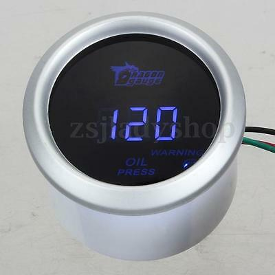 "WHITE 2"" 52mm BLUE DIGITAL LED 1-120 PSI CAR AUTO OIL PRESSURE PRESS GAUGE METER"