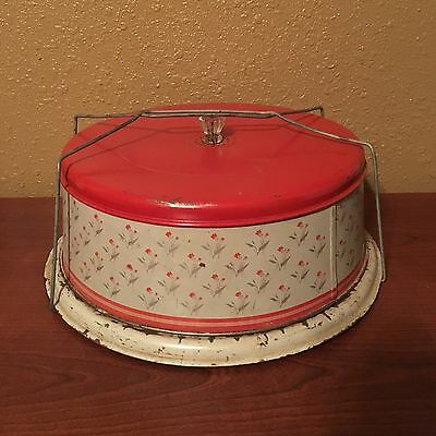 Vintage Metal Cake Storage / Carrier with Unique Wire Closure / handle