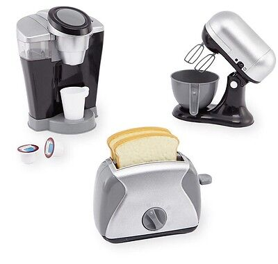 New Pretend Kitchen Appliance Set Realistic Keurig Coffee Maker KitchenAid Mixer