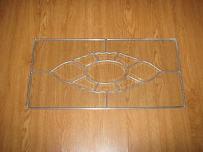 "Antique Leaded Clear Glass Panel - Beveled DESIGN  25 "" X 12 1/2""  QUICK SHIP"