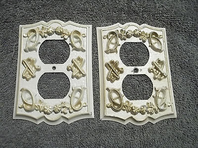 Pair White w/Gold Trim 1960's Outlet Cover Plates, Free S/H