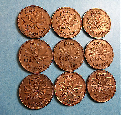 1945 TO 1952 ( 9 ) one cent canada coin