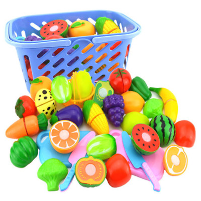 Kids Pretend Role Play Kitchen Fruit Vegetable Food Toy Cutting Set Gift US