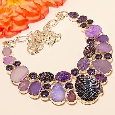 """Titanium Shell, Agate Druzy, Amethyst .925 Silver Jewelry Necklace 18"""""""