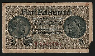"""5 Reichsmark 1940-1945, Germany Nazi Occup. territories- Series: Y1619794 -""""FR"""""""