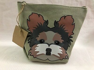 Top Choice Canvas Pouch Bag Yorkie Yorkshire Terrier Dog Zip Top