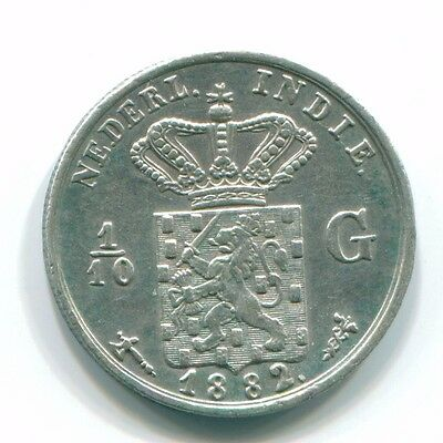 1882 Netherlands East Indies 1/10 Gulden Silver Colonial Coin Nl13174#3