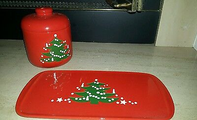 Waechtersbach cookie jar and tray Christmas Tree pattern