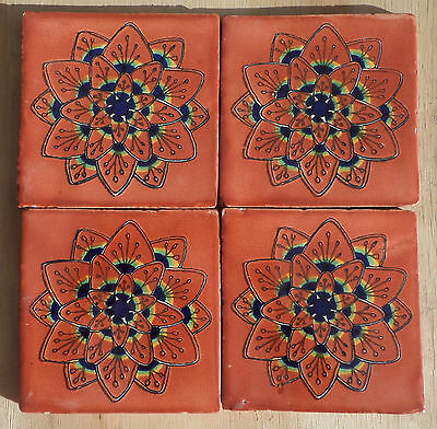 """10~Talavera Mexican tile pottery hand painted 4"""" Terra Cotta Peacock blue gold"""