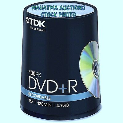 TDK ~100 Pack~ DVD+R ~ Recordable & Inscriptible ~ 16X~120MIN~4.7GB ~ NEW!