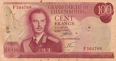 **Luxembourg Banknote 100 Francs 1970 P-56 AF Grand Duke Jean