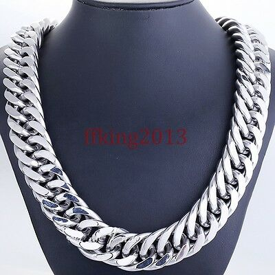 "21mm Men's Strong 316L Heavy Silver Stainless Steel Curb Chain Necklace 18""-40"""
