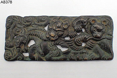Wonderful Ancient Bactrian Tiger Ram Bronze Big Filigree Plate#378