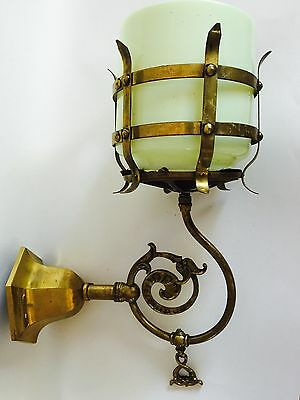 Antique 1900's  Ori .Vaseline Lamp & Victorian Brass Gas Light Wall Sconce