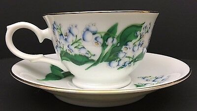 Tea Cup Saucer Set Avon Blossoms of the Month 22k Gold May Lilly of the Valley