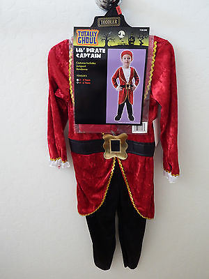 Totally Ghoul PIRATE Captain Halloween Costume Toddler Boy's Size 4-6 years NEW
